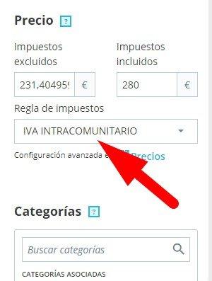 Ficha producto pretashop IVA intracomunitario